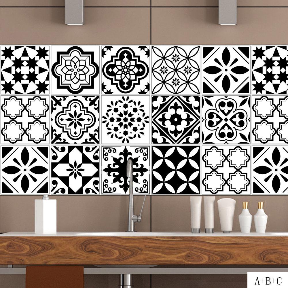 Carreaux Noir Et Blanc Cuisine noir et blanc style nordique rétro carrelage autocollant 20 * 100 cm pvc  salle de bains cuisine Étanche mur autocollant home decor plancher art mural