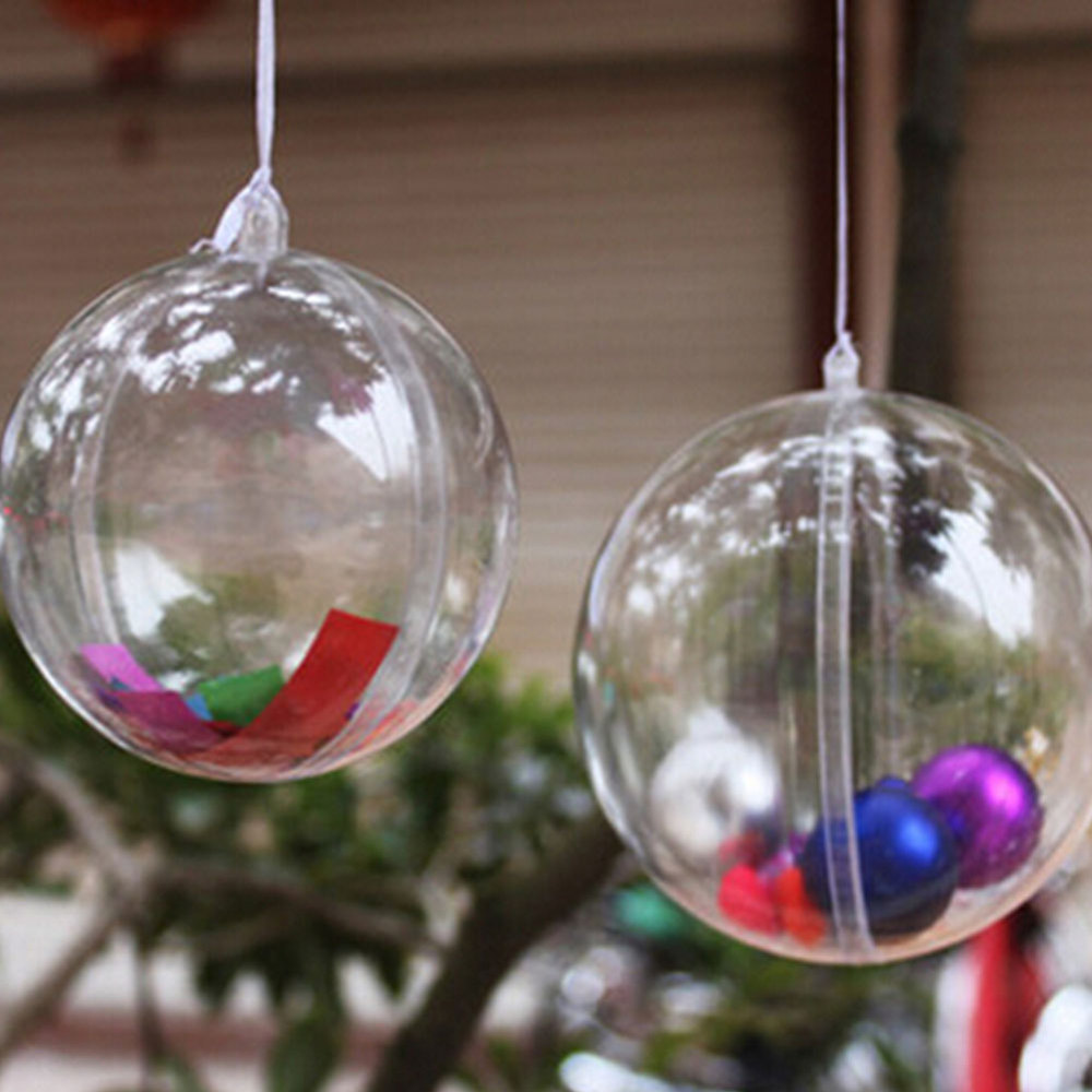 10cm Plastic Christmas Decorations Hanging Ball Bauble Candy Ornament Xmas Tree Outdoor Decor Clear Christmas