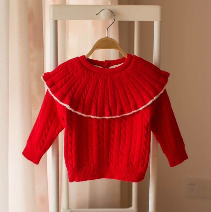 Winter kids Knit pullover capes long sleeve Girls princess Sweater twist knitted Plus velvet thicken Children jumper chirstmas clothes Y714