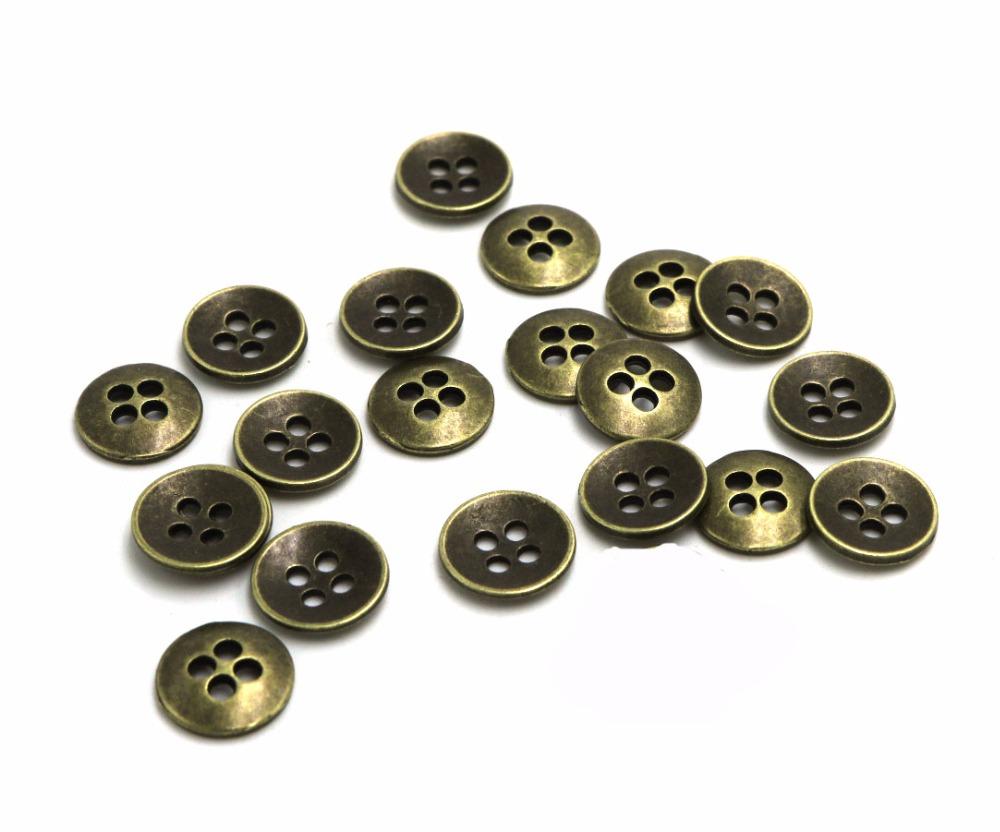 12pcs Nuevo Antiguo Rojo Metal De Bronce Ronda de cuatro agujeros hueco Botones 15 20 25 Mm