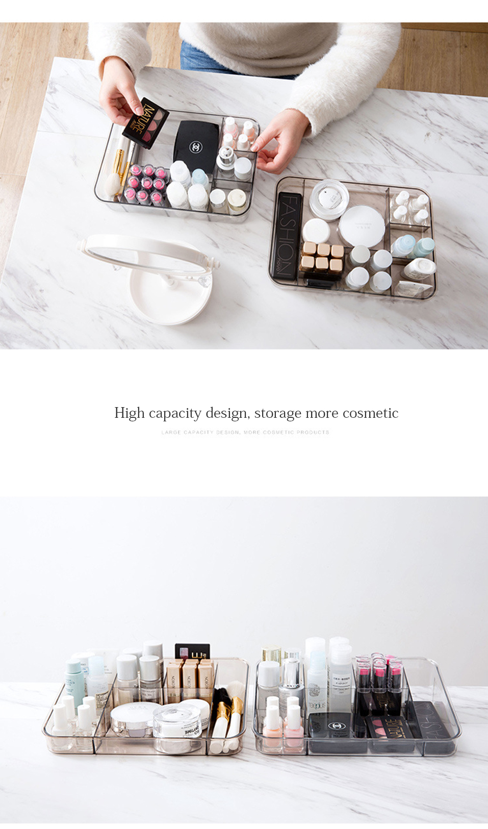 Storage Boxes Clear Acrylic Makeup Organizer Storage Box Case Lipstick Plastic Make Up Organizer For Brushes Jewelry Cosmetic _09