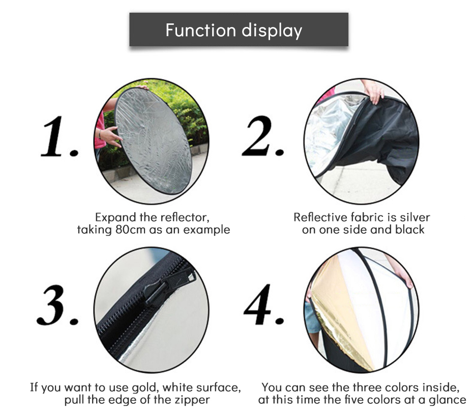 TiYiViRi 60CM 80CM 5 in 1 Collapsible Multi-Disc Light Reflector Round PhotographyPhoto Reflector with Cariing Bag for Studio (6)