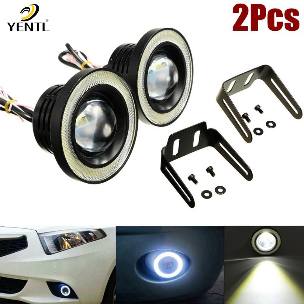 """2X 3.5/"""" Inch Car LED Fog Light COB Angel Eye Ring DRL Lamp Bulb White 12V MS"""