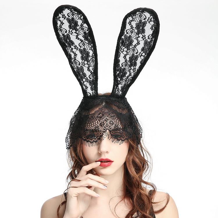 Bunny Ohren Cosplay Kostüm Maske Schwarz Weiß Mode Halloween Dekoration PT