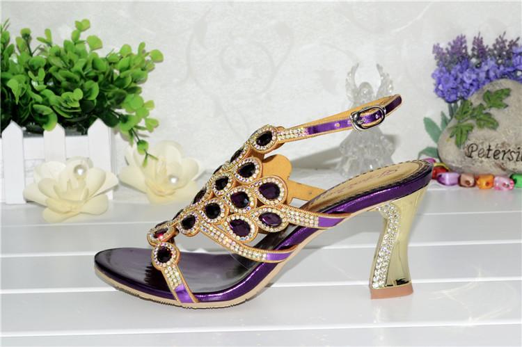 Korean Style Diamond Crystal Luxury Sandals High Heels Roman Womens Purple Evening Shoes Plus Size 11 Fashion 2016 Summer11