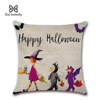 Kissenbezug New Halloween Kürbis Hexe Cartoon Witchplant Baumwolle und Leinen Kissen Fenster Matte Hause Geschenk Textile 45 * 45 cm