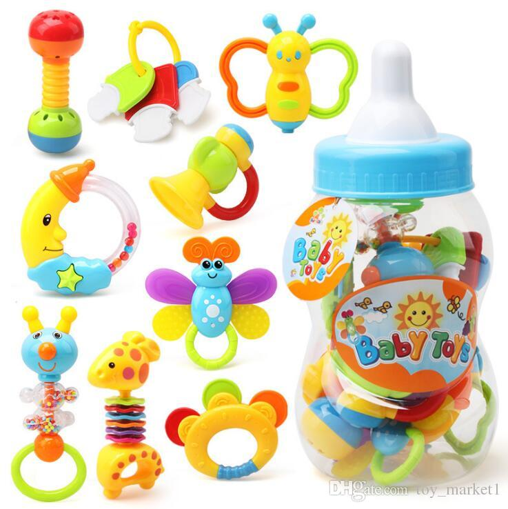 1pcs Baby Rattles Teether Toys Set Ball Shaker Grab Spin Bite Toy Puzzle Gifts