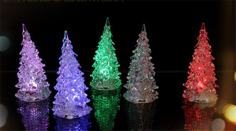 MINI Christmas Tree Led Light Crystal Clear Colorful Xmas Trees Night Lights New Year Party Decoration Flash bed Lamp Ornament Gift