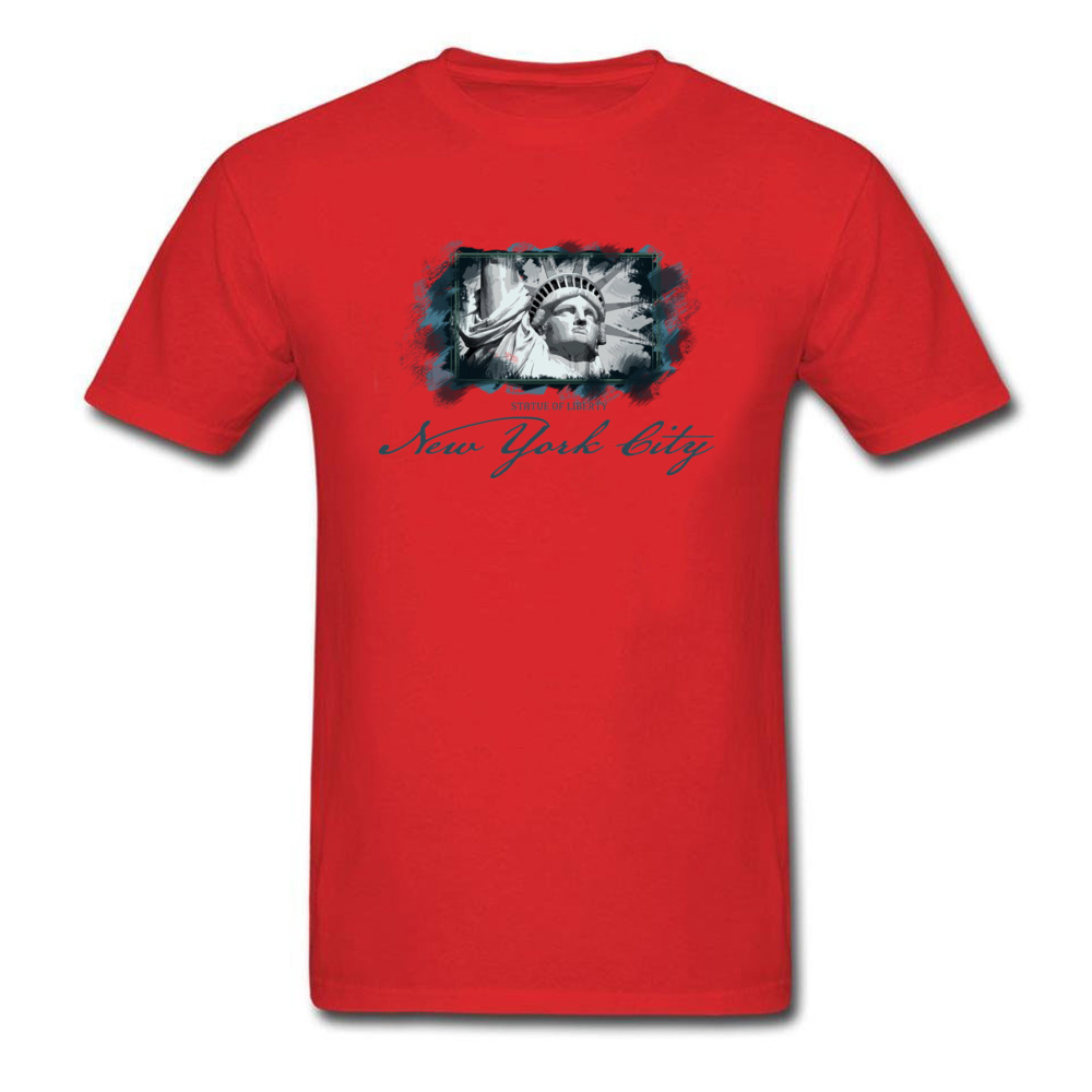 Tops Shirts Birthday Top T-shirts Summer Autumn 2018 New Fashion Group Short Sleeve 100% Cotton O Neck Men T Shirts Group New York City Statue of Liberty red
