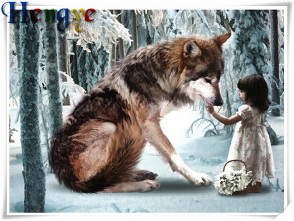 Kit de pintura de diamante mosaico Lobo de nieve Pintar por Números KIT 5D puntada cruzada