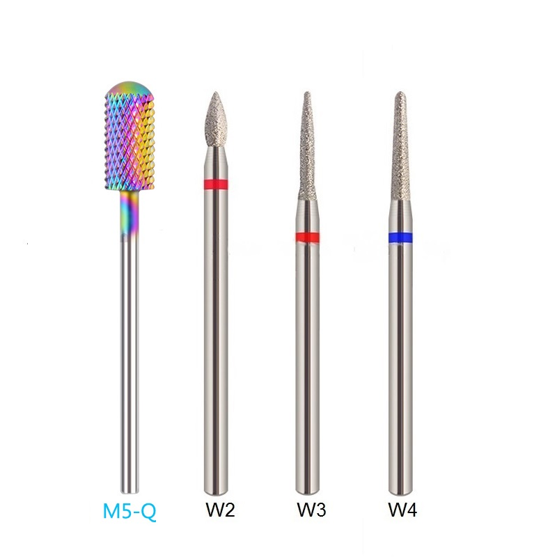 RIKONKA 4PCS 3/32'' Milling Cutter For Manicure Nail Drill Bits Cuticle Cutter Tips Electric Drill Machine Accessories Nail File