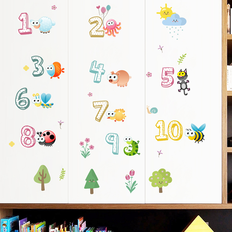 Arabische Zahlen 1-10 Wandaufkleber Für Kinderzimmer Dekorationen Niedlichen Tiere Home PVC DIY Klassenzimmer Dekor Wandbild Wandkunst Decalshaif