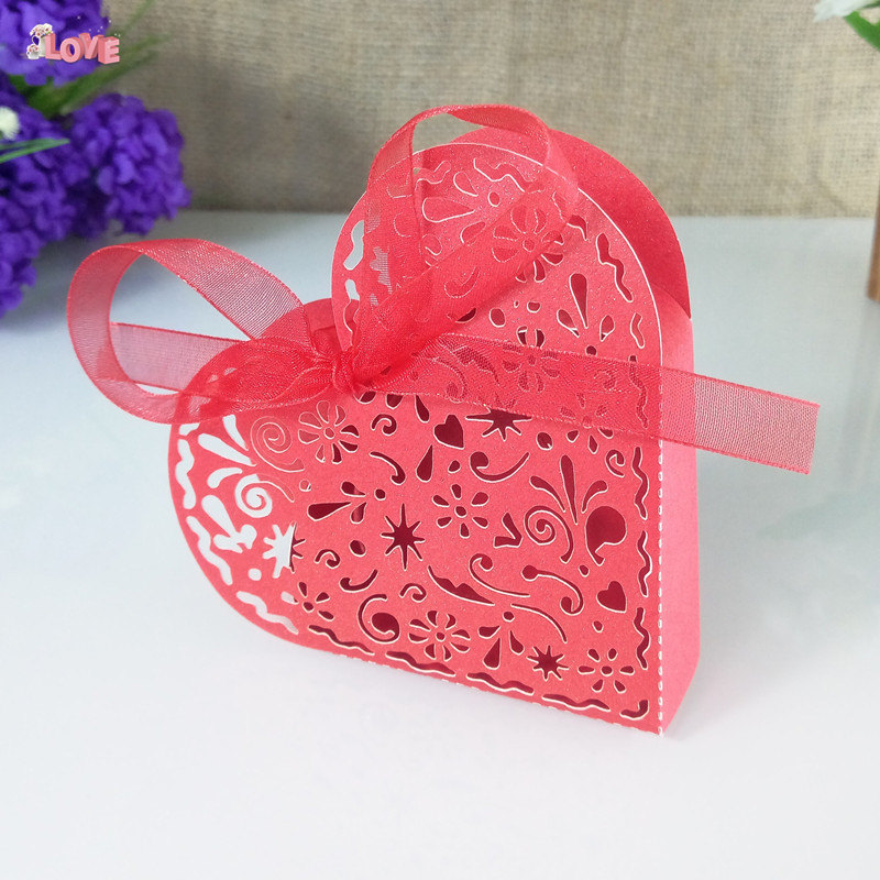 laser cut heart candy box with ribbon decoration candy cookie gift box Christmas candy biscuit box 5ZT54