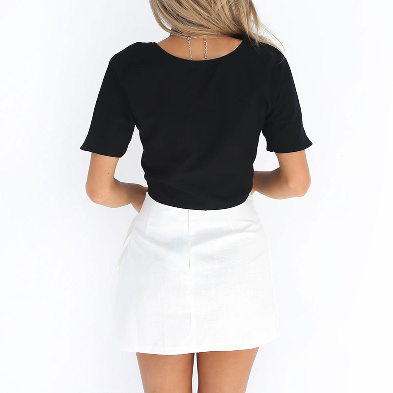 New Sexy Women Low Cut Tied Cropped Blouse Deep V-Neck Bowknot Short Sleeve Blouses Summer Crop Top Female Shirt Blusas