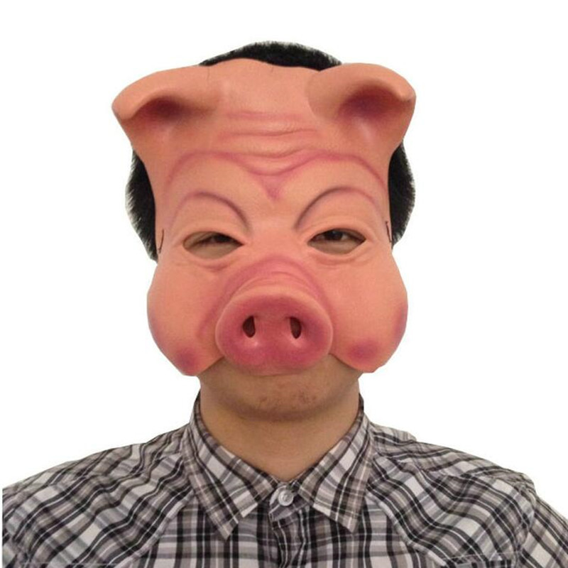 Halloween Horrible Scary Latex Pig Full Face Mask Latex Masks Masquerade Party Cosplay Props Christmas Carnival