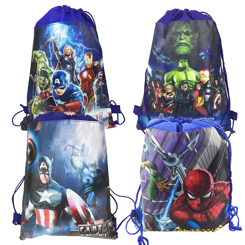 6PC MARVEL AVENGERS Kids Sling Bag Tote Backpack BIRTHDAY TREAT BAGS PARTY FAVOR