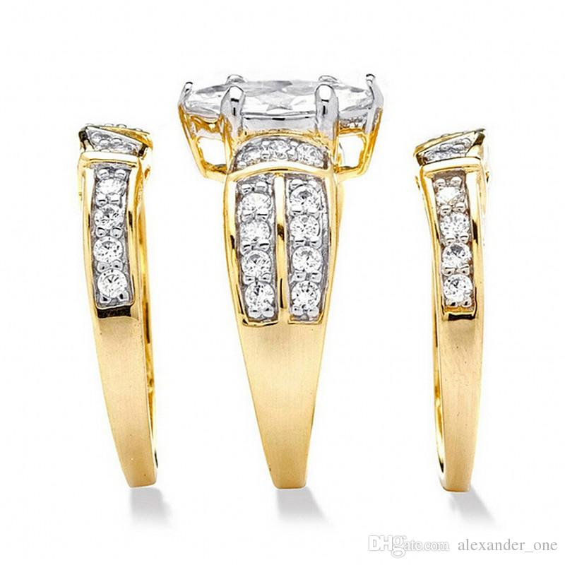 Fashion Jewelry Marquise Cut Diamond ring 14K Gold Filled Gemstone Ring Set Wedding Bride Band Rings for Women Size 5,6,7,8,9,10