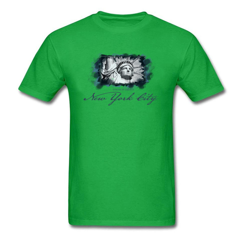 Tops Shirts Birthday Top T-shirts Summer Autumn 2018 New Fashion Group Short Sleeve 100% Cotton O Neck Men T Shirts Group New York City Statue of Liberty green