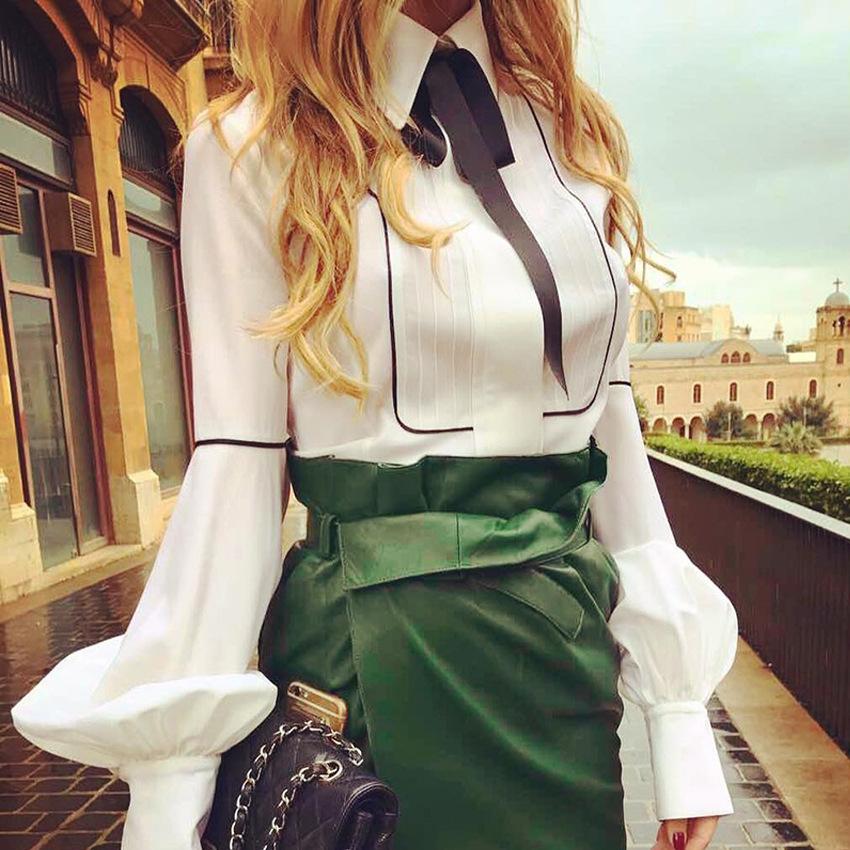 Bow Tie Blouses Women Lantern Sleeve Shirts Top White Button Shirts Female Elegant Office Top Sexy Club Party Shirt Blusas GV159