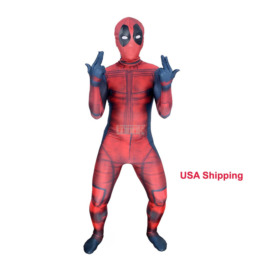 New Halloween Adult Kids DEADPOOL Cosplay Costume Jumpsuit Spandex Zentai Suit