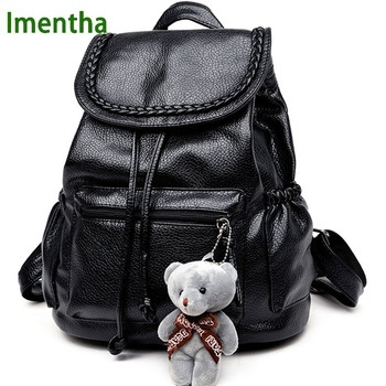 2017 women Bagpack Female PU shiny leather black Backpack Women Back Pack Lady School Bags for Teenagers girls