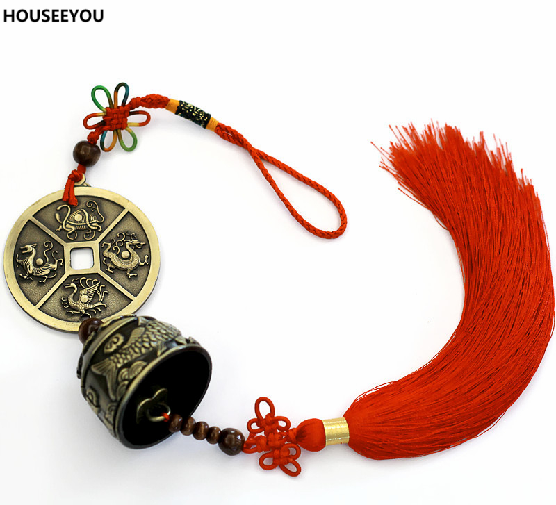 Metal Small Wind Chimes Red Tassel Wind Chimes Car Door Bed Hanging Bell Pendant Party Birthday Chinese Style Decoration