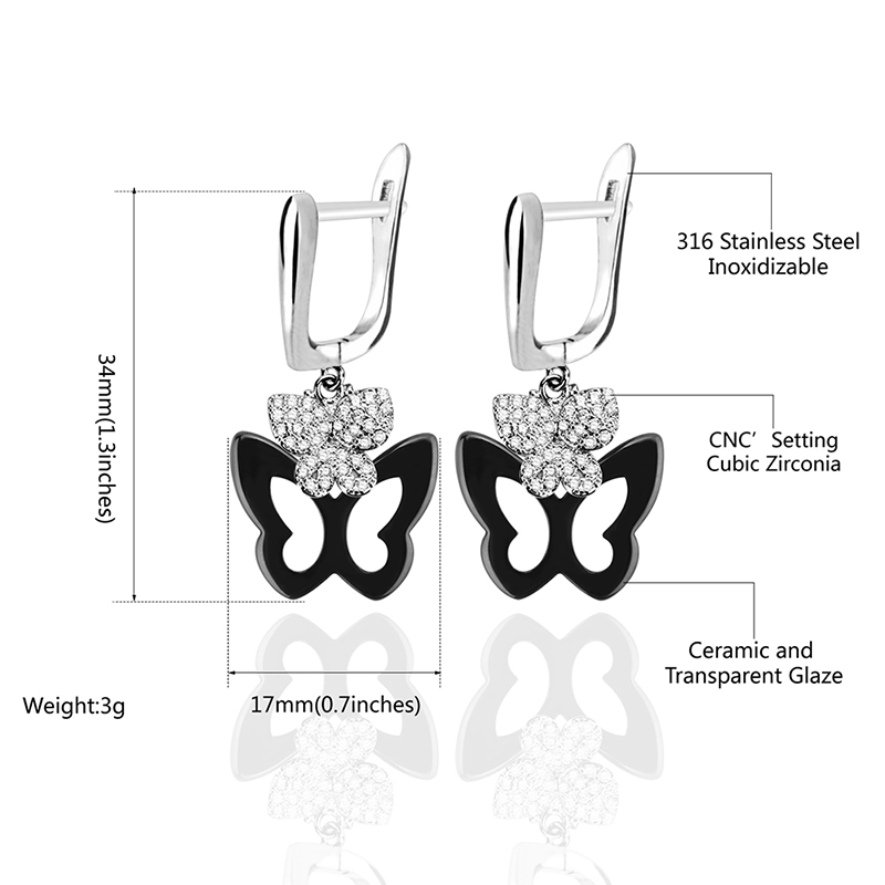 Hanging Butterfly Earrings Set With Bling Crystal Black White Ceramic Fashion Temperament Korean Earrings Fashion Jewelry