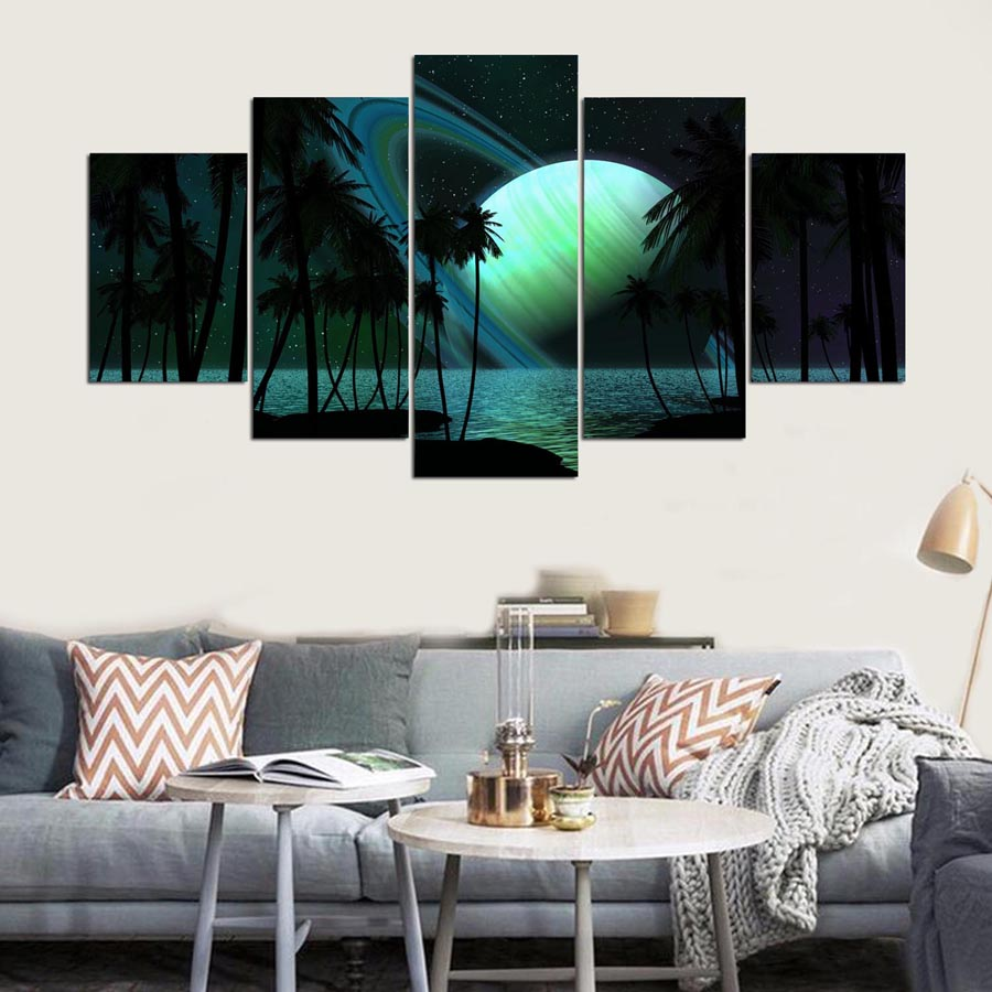 HD Print Canvas Painting Home Decoration Scenery Picture Wall Art 5 Panel Beautiful Planet Landscape Poster For Living Room