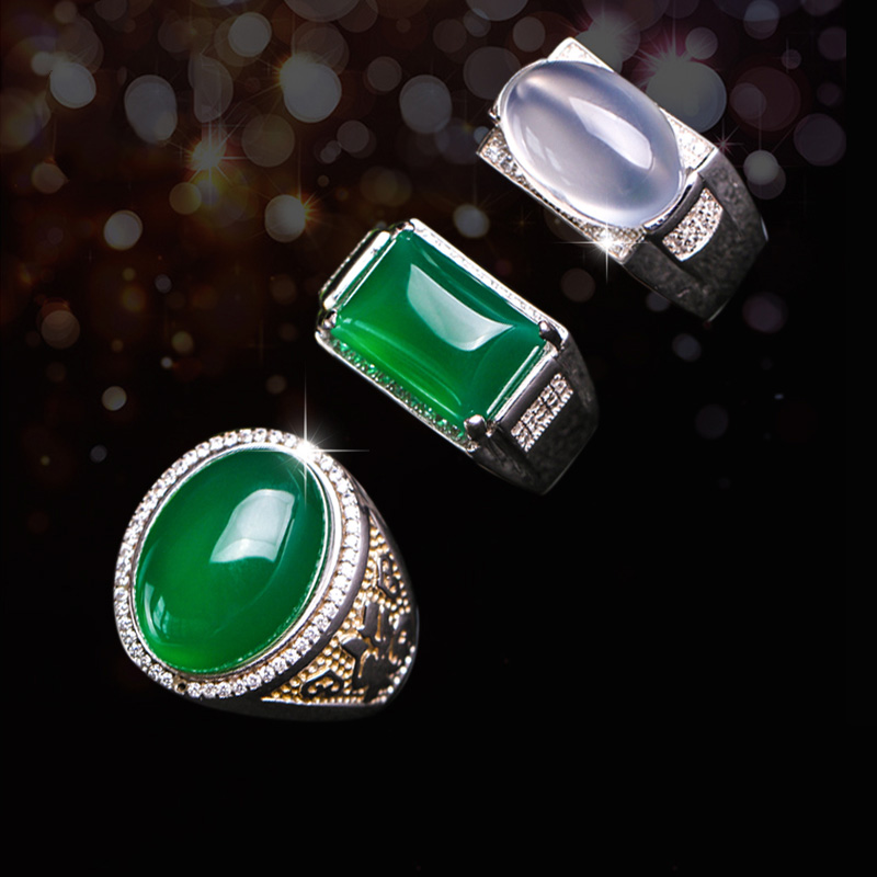 Male and female AGATE SILVER RING emerald emerald antique set of chalcedony index finger ornaments