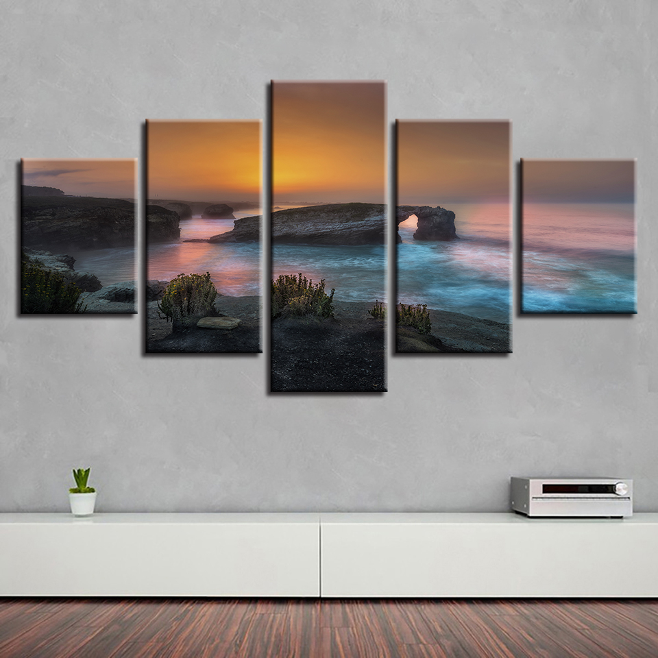 Modular Canvas Printed Pictures Sunset Sea Rock Wave Seascape Paintings Wall Art Poster Framework For Living Room Decor