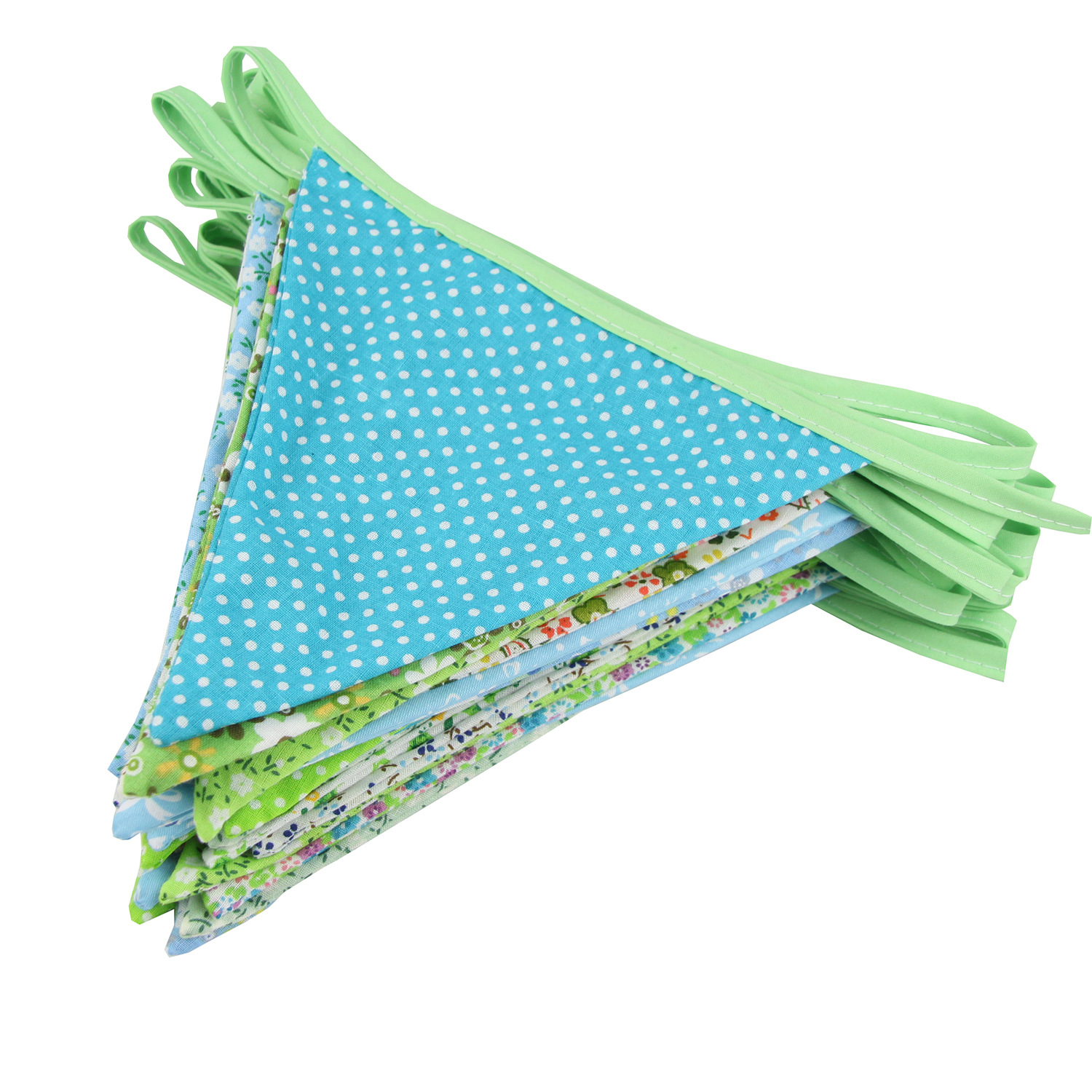 Gala-zone 10M 36 Flags Green Cotton Fabric Bunting Banner Pennant Tent Flag Hanging Banner For Kids Home Bedroom Birthday Decor