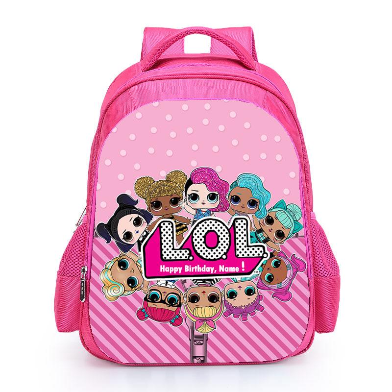 Kids Pink Backpack LOL School Bag for Girls Cute Custom Name Print Schoolbag personalized Book Knapsack mochila Birthday Gift (11)