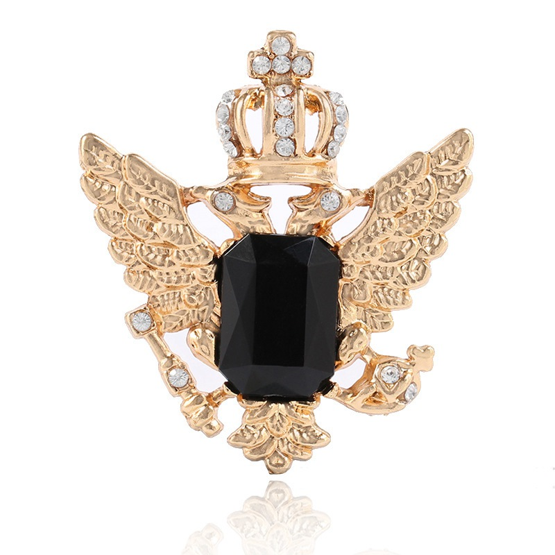 Luxurious Crown Wings Crystal Rhinestone Women Bridal Wedding Brooch Pin Party Jewelry For Women Gold Color Metal Pin
