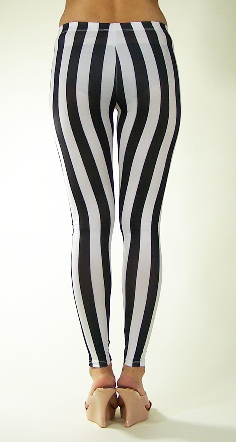 Mediados de Cintura Negro Blanco Rayas Verticales Legging Sexy Elástico Fitness Entrenamiento Leggings Mujeres Zebra Sporting Leggins Pantalones Largos