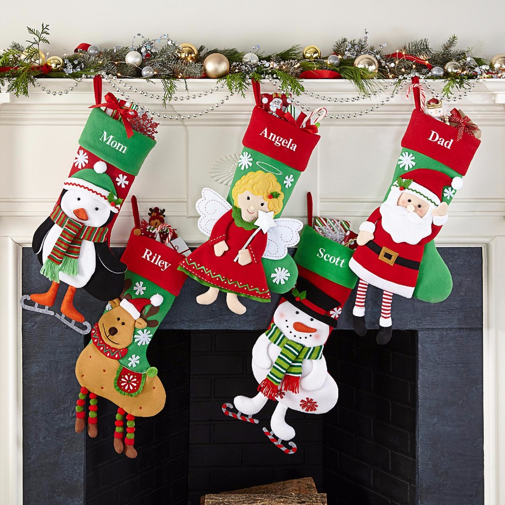 Christmas Stocking Christmas Gift Bags For Kids Santa Claus Elk Many Color Sack Bags Christmas Pendant Decoration Navidad Paper Christmas Decorations
