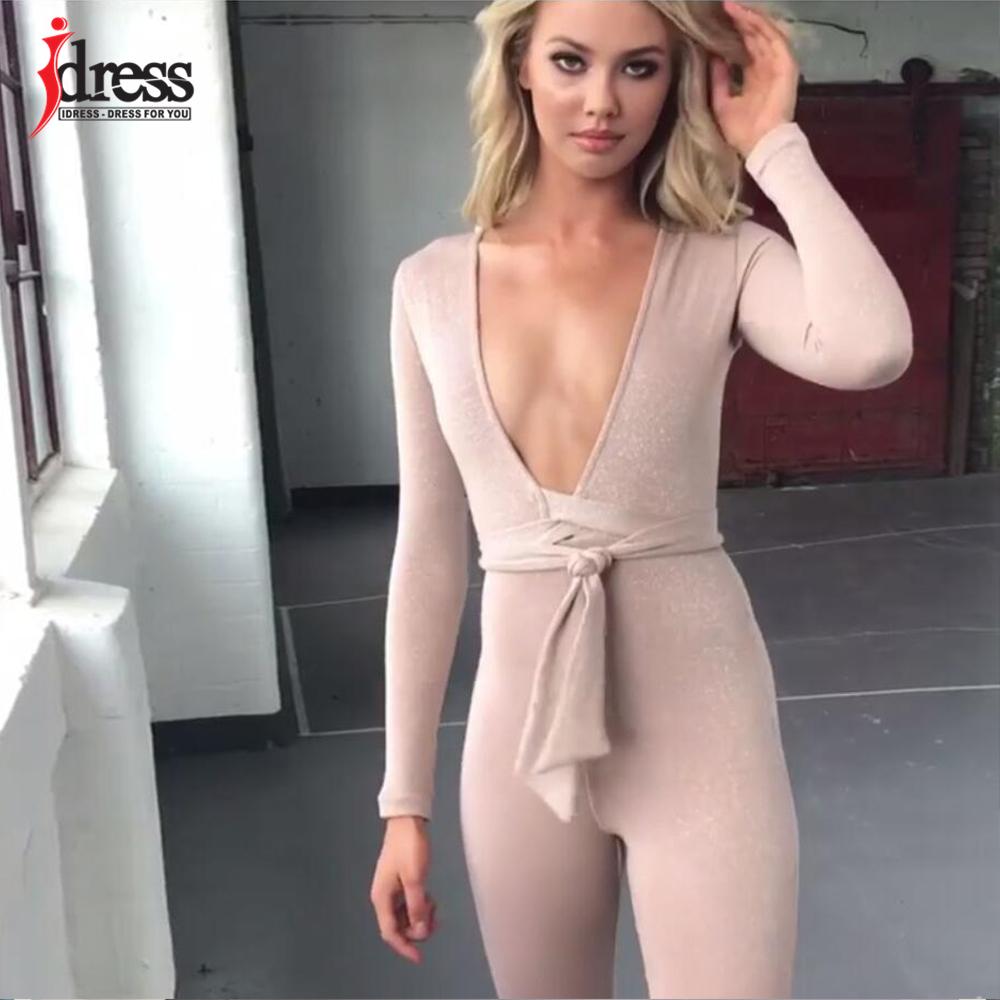 IDress 2018 New Spring Autumn Women\`s Sexy Long Sleeve Black Gold Illusion V Neck Sashes Bodysuit Elegant Rompers Women Jumpsuit (3)