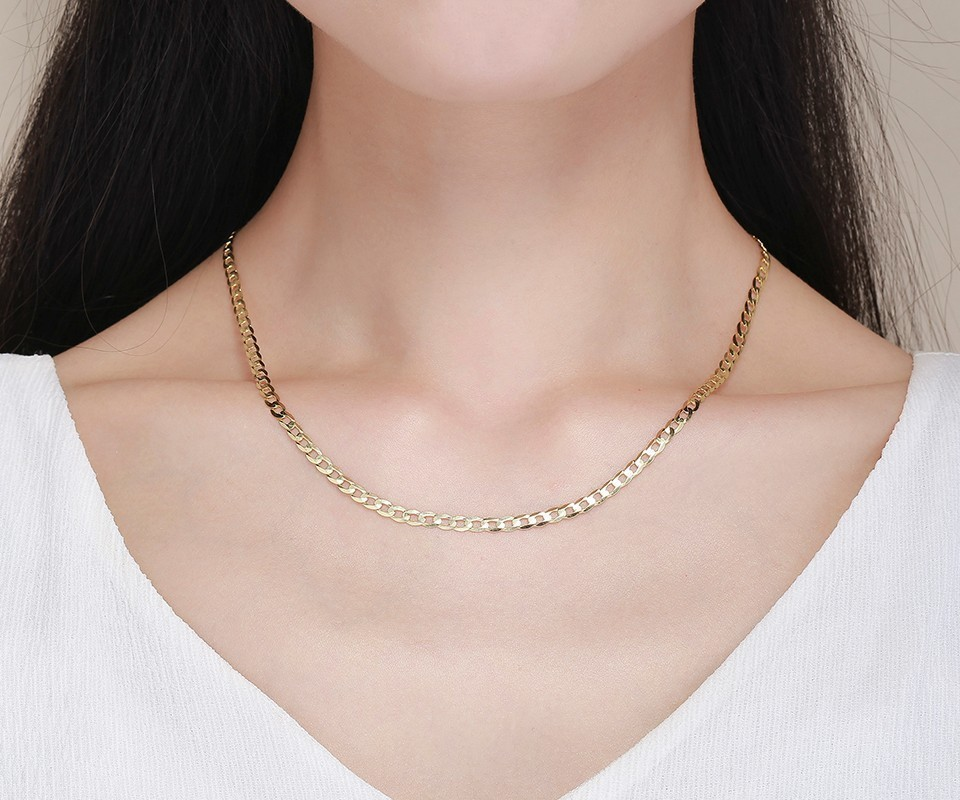 45cm-80cm 4mm Slim 925 Sterling Silver W/ Gold Color Curb Chain Link Necklaces Men Jewelry Hiphop collares kolye Collier ketting S18101105