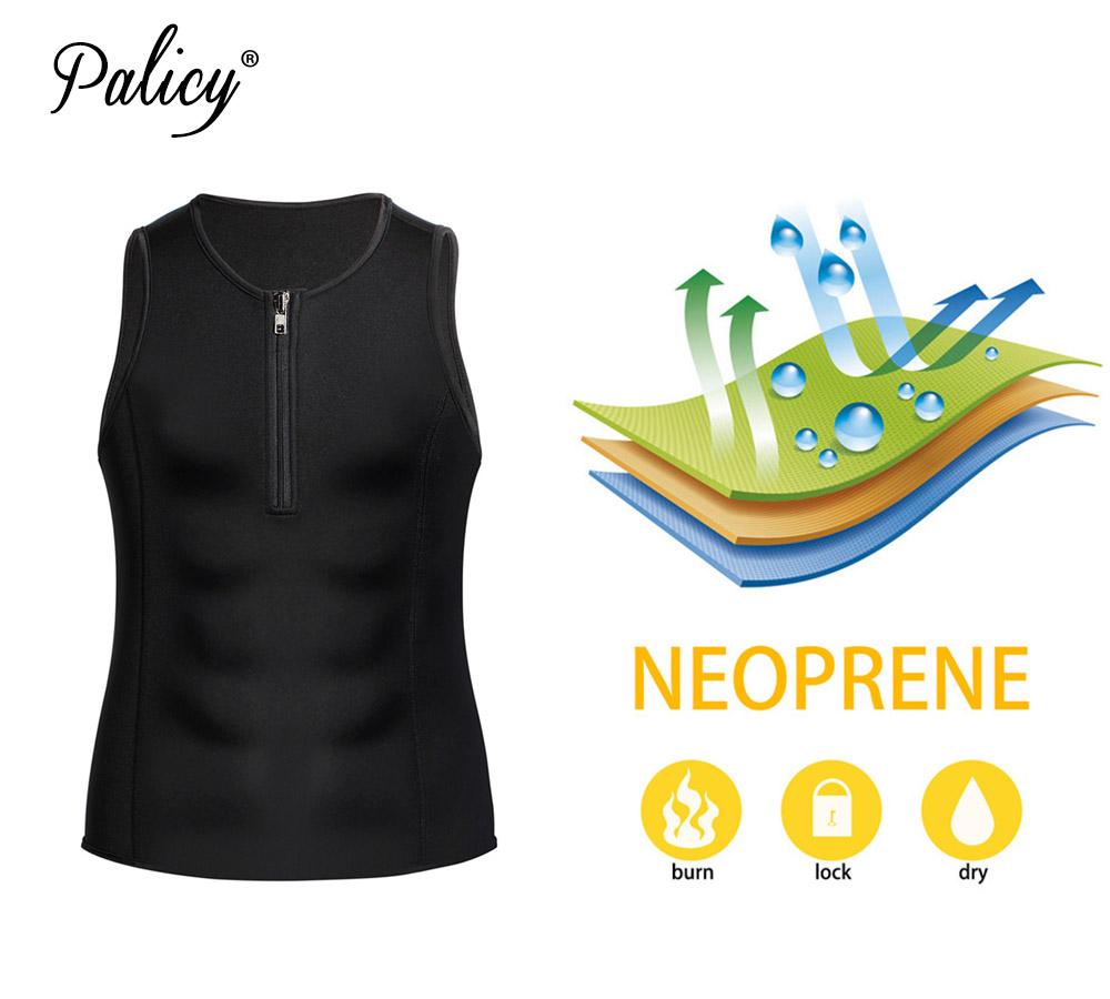 wholesale Men's Sauna Suit Neoprene Slimming Waist Trainer Body Shaper Sweat Vest for Weight Loss Corset Shapewear Tank Top Zipper