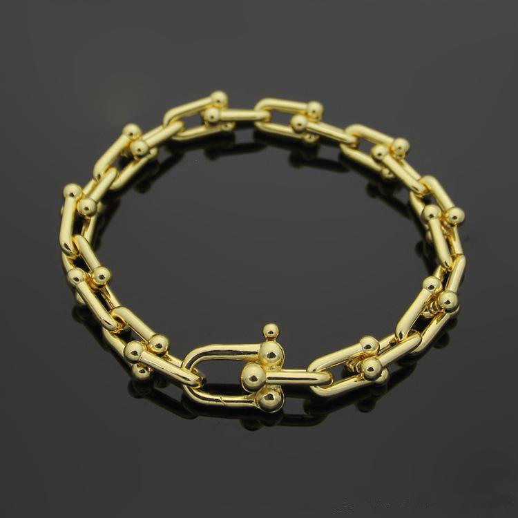 Célèbre Marque Bracelets En Acier Inoxydable 316L Or 18K U Chaîne Bracelet Rose Or Argent T lettre Couple Bracelets Femmes Hommes Mode Bijoux