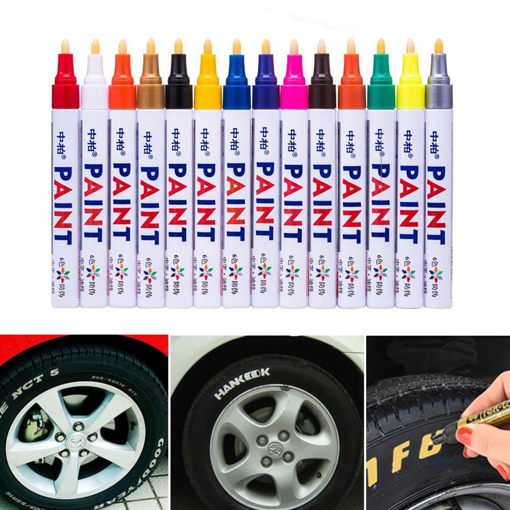 Lot de 4 Voiture Moto Blanc Marqueur permanent huile étanche pneu marqueur stylo