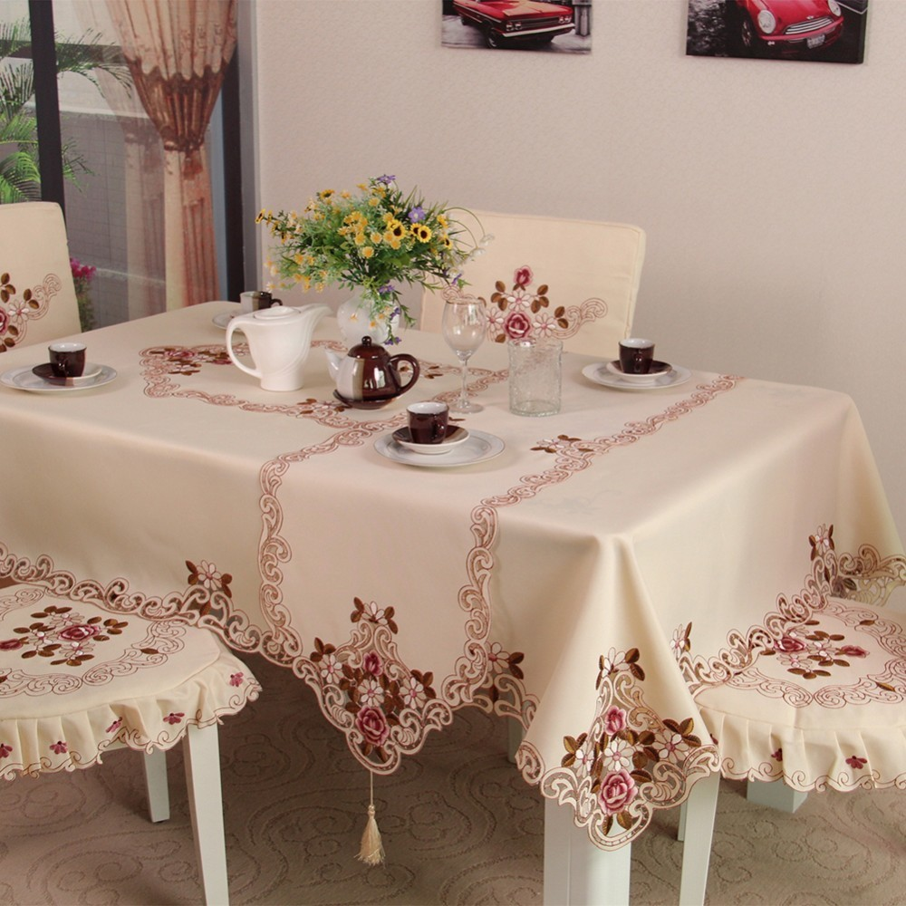 White Flower Table Cloth With Lace Cotton Print Chinese Style Rectangular Dinning Tablecloths Cover Home Decor 6 Size