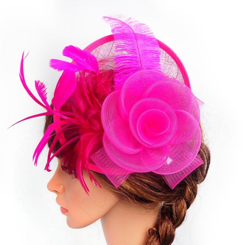 Femme noir fleur plume aliceband Chapeau Cheveux Bande formelle Race Royal