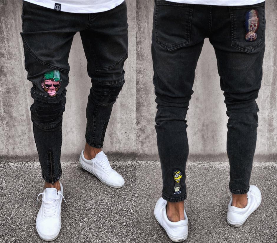 DIAOOAID 2018 Pantalones Vaqueros Negros Streetwear Hiphop Nueva Cremallera Calidad de La Motocicleta Venta Caliente Masculina Personalidad Pantalones de Mezclilla D18102401