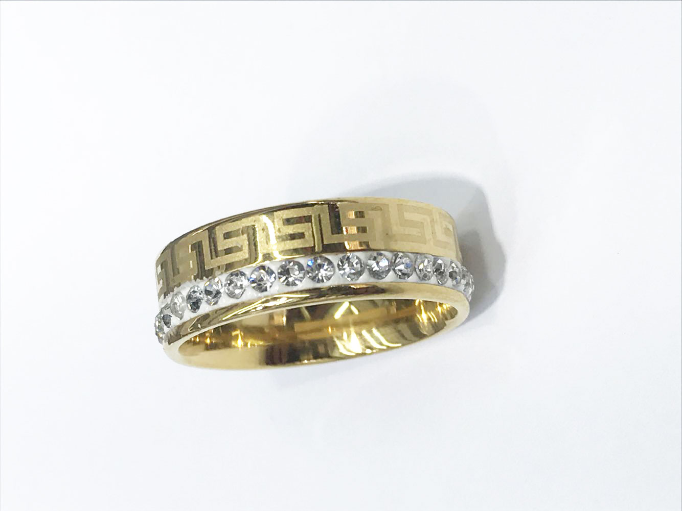 one Row Crystal Jewelry Wholesale Gold Color Stainless Steel Wedding Rings USA size 7/8/9/10/11/12