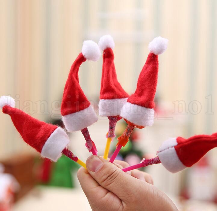 Mini Lint Père Noël Chapeau De Noël De Noël Vacances Sucette Top Topper Décor De Noël Festival Parti Ornement Décor MINI HAT KKA6021