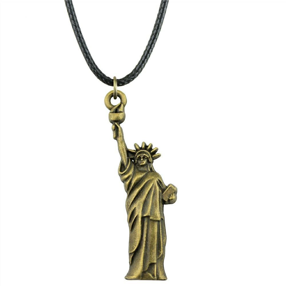 Estatua Libertad Hecho A Mano Colgante De Plata
