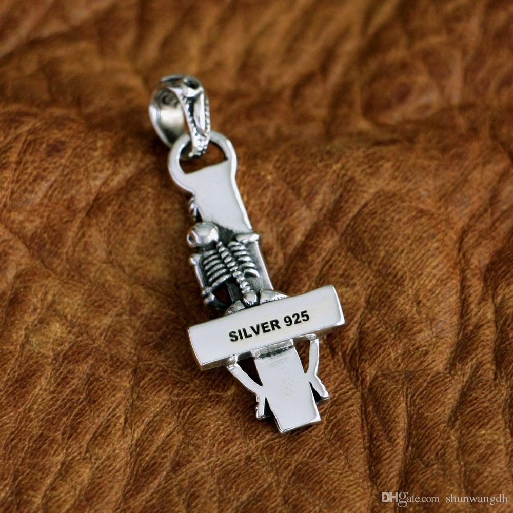 LINSION 925 Sterling Silver Hidden Skull Cross Charms Pendant TA95 JP