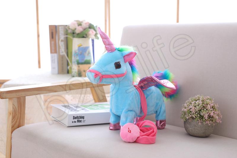 Elektrische einhorn puppe plüschtiere zu fuß kuscheltier pferd spielzeug elektronische musik singen spielzeug chinldren weihnachten gefüllt geschenk gga1262