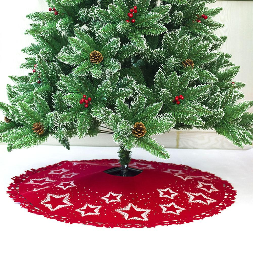 Beautiful Christmas Tree Stand Christmas Tree Skirt Christmas Tree Dress Garden Home Decoration Star Print Felt Soft 100cm