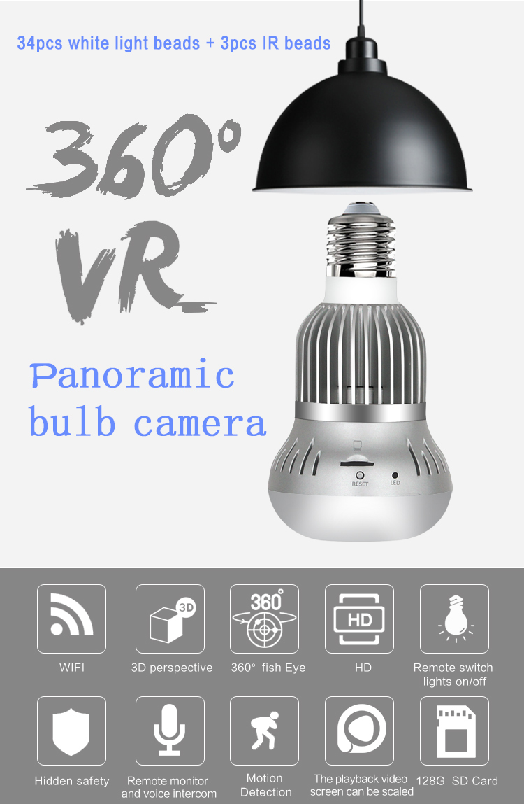 Led camera light bulb spy hidden panoramic vr camera 360 degree